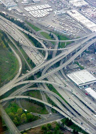 Interstate 5 in Washington - The interchange between Interstate 5 and Interstate 90 in south Seattle
