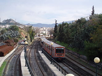 Thiseio metro station - Train leaving Thissio