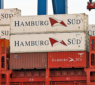 Twenty-foot equivalent unit - Two forty-foot containers stacked on top of two twenty-foot containers. These four containers represent 6 TEU.