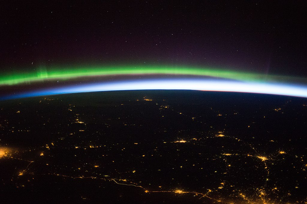 File Iss 43 Earth Sunrise Aurora And Sparling Cities In