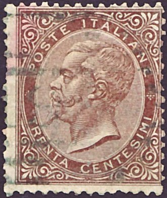 Postage stamps and postal history of Italy - An 1863 stamp of the Kingdom of Italy.