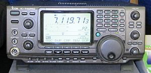 Transmitter - Modern amateur radio transceiver, the ICOM IC-746PRO. It can transmit on the amateur bands from 1.8 MHz to 144 MHz with an output power of 100 W