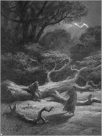 Brocéliande - Merlin and Viviane in Brocéliande, Gustave Doré's illustration for Idylls of the King (1868)