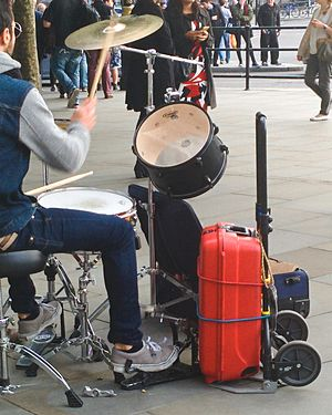 Improvisation - Improvised bass drum in Trafalgar Square, London.