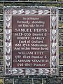 In a House formerly standing on this site lived SAMUEL PEPYS 1633-1703 Diarist & ROBERT HARLEY Earl of Oxford 1661-1724 Statesman.jpg
