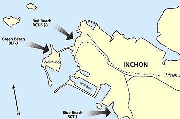 上陸作戦の様子 仁川港への上陸作戦を行う前の前哨戦として、仁川港の前... 仁川上陸作戦