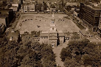 Independence Mall (Philadelphia) - Independence Hall, with newly demolished First Block of Independence Mall, 1952.