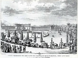 Repatriation (cultural heritage) - Triumphal procession into Paris of art looted by Napoleon from Italy in 1797. The Horses of Saint Mark in the centre, themselves taken from Constantinople in 1204, were returned to Italy in 1815.