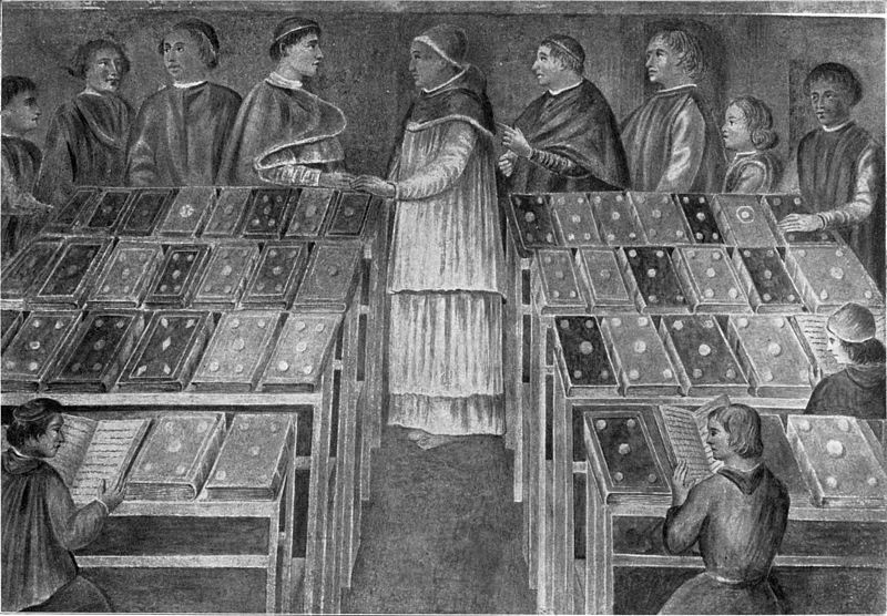 Fig. 9. Interior of the Library of Sixtus IV, as shewn in the fresco ion the Hospital of Santo Spirito, Rome