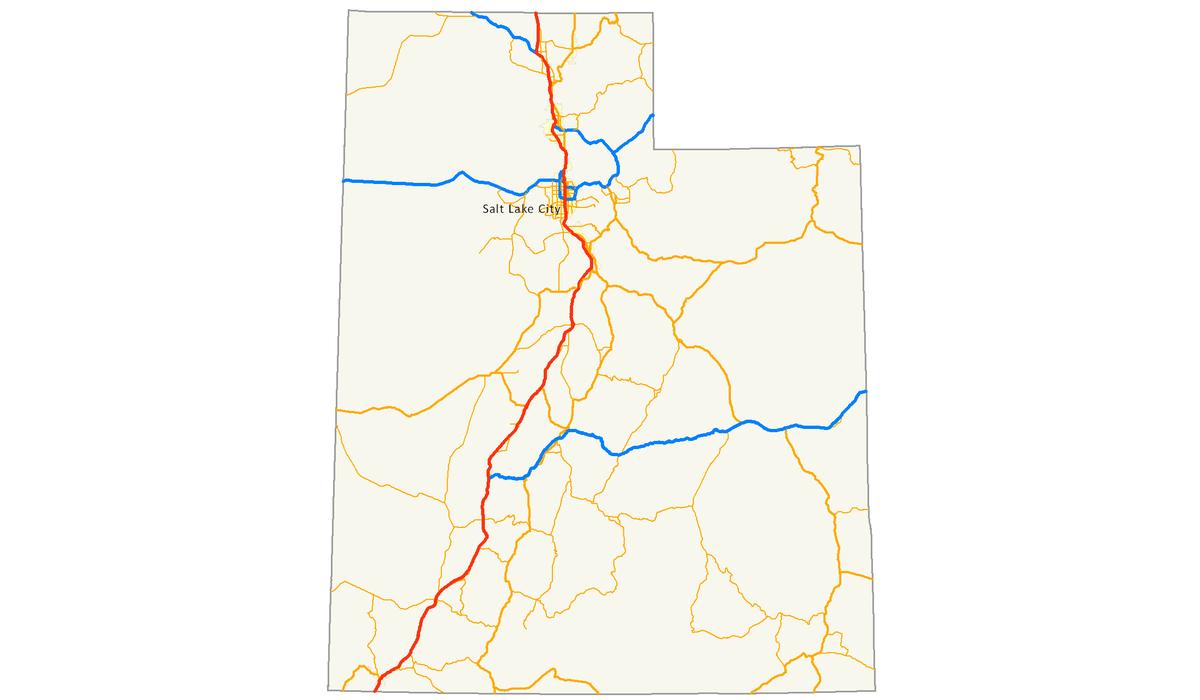 Interstate In Utah Wikipedia - Show me a map of utah