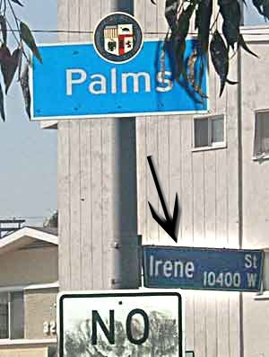 Palms, Los Angeles - Sign denoting the entrance to the Palms neighborhood on Irene Street