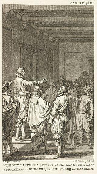 Jacobus Buys and Reinier Vinkeles for Jacobus Kok Vaderlands Historie - Wijbout Ripperda doet een Vaderlandsche aansprak op de Burgers RP-P-OB-79.228