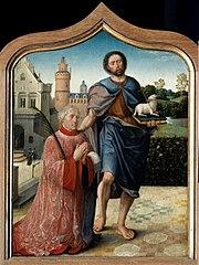 Saint Jean et le chanoine donateur ; gisant