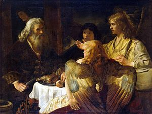 Abraham entertaining the three angels (Genesis 18:9-15)
