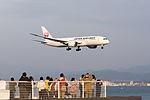 Japan Air Lines, JL69, Boeing 787-8 Dreamliner, JA831J, Arrived from Los Angeles, Kansai Airport (17009660188).jpg