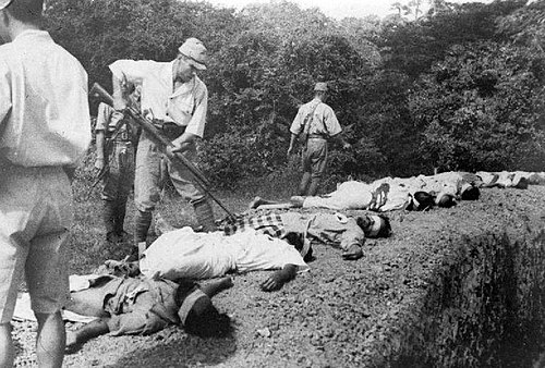 Captured soldiers of the British Indian Army who refused to join the INA were executed by the Japanese. Japanese atrocities imperial war museum K9923.jpg