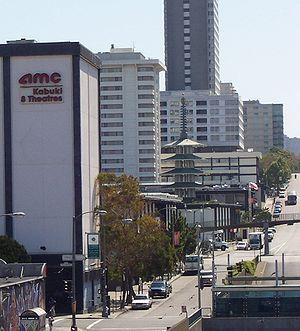 Japantown, San Francisco - Japan Center of Japantown, with Peace Pagoda and the Sundance Kabuki 8 cinema complex.