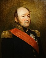 Painting shows a round-faced man with a mostly bald head. He wears a dark blue military uniform with epaulettes and a red sash.