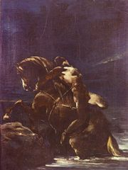 """Mazeppa"" by Théodore Géricault; based on an episode in Byron's poem when the young Mazeppa is punished by being tied to a wild horse."