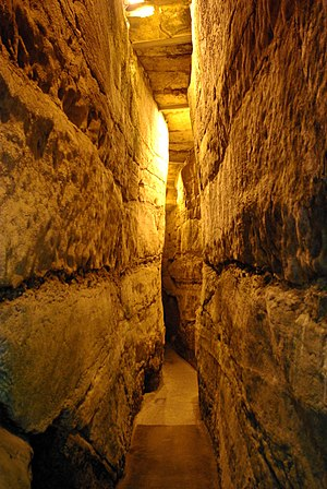 Western Wall Tunnel - Narrow passage in Western Wall tunnel