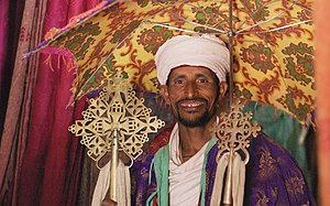 Hill people - A cleric of the Ethiopian Orthodox Tewahedo Church at the 13th-century Bet Abba Libanos church in the Ethiopian highlands.