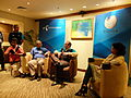 Jimmy Wales, Smriti Gupta and Munir Hasan on a short Wikipedian Meet up.JPG