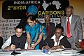 Jitin Prasad and the Minister of State for Energy & Mining of Sudan, Ms. Angelina Jany Teny signing an umbrella MoU between India and Sudan for further expanding cooperation in the oil and gas sector, in New Delhi.jpg