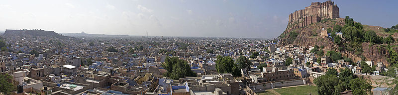 Panorama view of Jodhpur, with the Mehrangarh Fort to the right, and the city centre below
