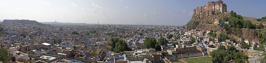 Panorama view of Jodhpur, with the Mehrangarh Fort to the right, and the city centre below.