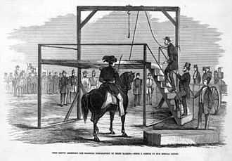 """Virginia v. John Brown - """"John Brown ascending the scaffold preparatory to being hanged"""", from the December 17, 1859 edition of Frank Leslie's Illustrated Newspaper"""