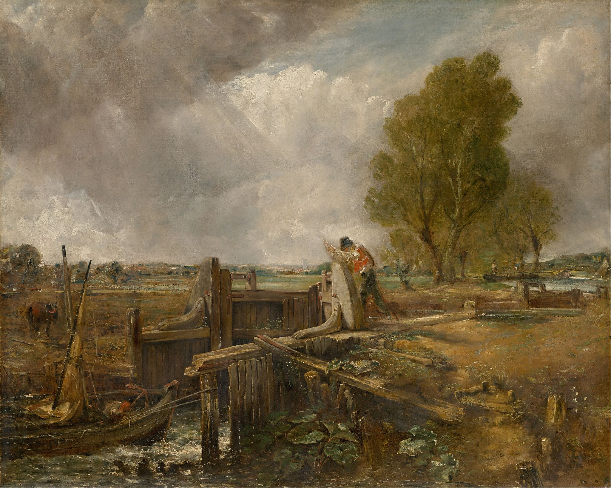 John Constable - Study of A boat passing a lock - Google Art Project