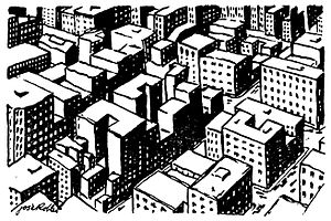 José Robles - Downtown, 1928 drawing by Robles