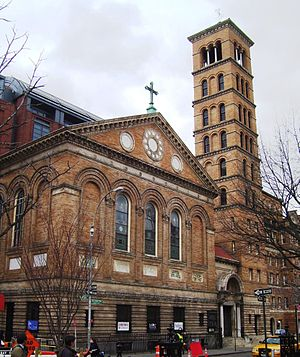 Thompson Street (Manhattan) - Image: Judson Church from east