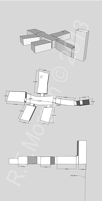 KV30 - Isometric, plan and elevation images of KV30 taken from a 3d model