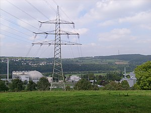 Obrigheim Nuclear Power Plant - The Obrigheim Nuclear Power Plant on the left
