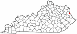 Location of Louisa, Kentucky