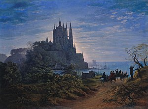 Karl Friedrich Schinkel - Gotische Kirche auf einem Felsen am Meer