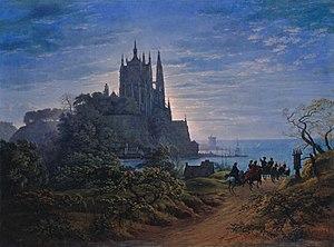 Joachim Heinrich Wilhelm Wagener - The first piece in Wagener's collection - Schinkel's Gothic Church on a rock by the sea