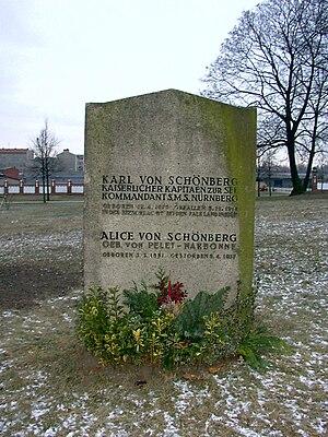 SMS Nürnberg (1906) - Memorial to Captain Karl von Schönberg, the commander of Nürnberg and killed during the battle