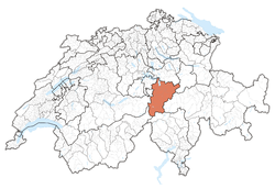 Map of Switzerland, location of Uri highlighted