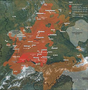 Casimir, Margrave of Brandenburg-Bayreuth - Map of the spread of the riots during the German Peasants' War in 1525