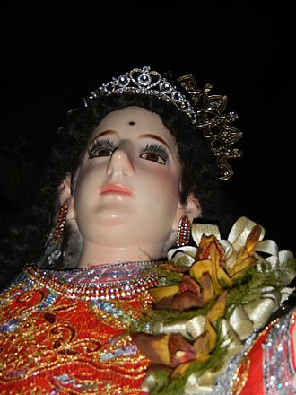 """St. Mary Magdalene Church (Kawit) - The image of St. Mary Magdalene with the """"mark"""" in her forehead"""