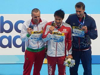Chase Kalisz - Medalists in swimming at the 2015 World Aquatics Championships – Men's 400 metre individual medley, left to right: Dávid Verrasztó (silver), Daiya Seto (gold), Chase Kalisz (bronze)