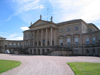 Matthew Brettingham - Kedleston Hall was Brettingham's opportunity to prove himself capable of designing a house to rival great houses like Holkham Hall and Chatsworth House. The chance was snatched from him by Robert Adam, who completed the North front (above) much as Brettingham designed it but with a more dramatic portico.