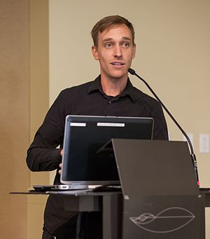 Cowspiracy - Co-producer/director Keegan Kuhn speaks at the Cowspiracy conference in Berkeley, September 2016.