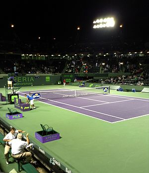 Miami Open (tennis) - Stadium Court, the main venue at the Miami Open at night time