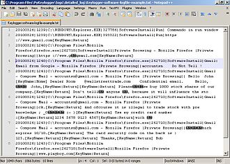 Keystroke logging - A logfile from a software-based keylogger, based on the screencapture above.