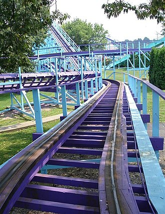 Family coaster: Kingdom Coaster at Dutch Wonderland in Lancaster, Pennsylvania, is a 55-foot tall (17 m) coaster that reaches a top speed of 40 mph (64 km/h). Kingdom Coaster 002.JPG