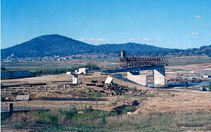 History of Lake Burley Griffin - Southern end of Kings Avenue Bridge under construction with Australian War Memorial at far left c.1961