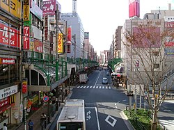 A street in front of Kita-Senju Station in Adachi